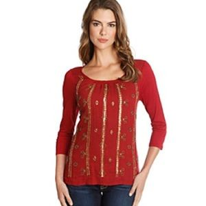 Lucky Brand Top Blouse Red Gold Sequin 3/4 Sleeve